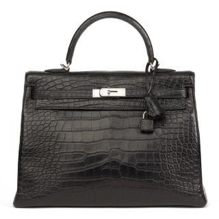 Hermes Black Matte Mississippiensis Alligator Leather Kelly 35cm