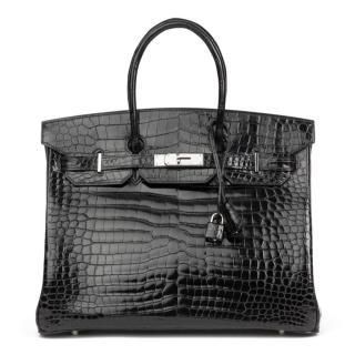 ca89919f9030 Hermes Black Shiny Porosus Crocodile Leather Birkin 35cm