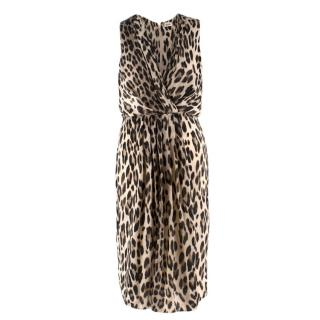 L'AGENCE leopard-print sleeveless satin dress