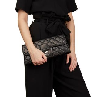 Chanel Black Quilted Lambskin Classic Clutch