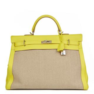 Hermes Lime Evercolour Leather & Ficelle Toile Kelly Voyage 50cm