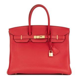 Hermes Rouge Casaque Togo Leather Birkin 35cm