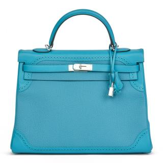 Hermes Turquoise Togo & Swift Leather Ghillies Kelly 35cm Retourne