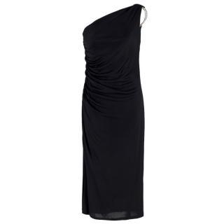 Clips black embellished one-shoulder midi dress