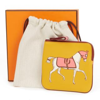 Hermes Juane Ambre, Rouge H & Rose Azalee Swift Leather Carre Pouch