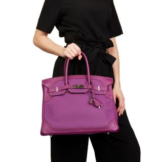 Hermes Anemone Togo & Swift Leather Ghillies Birkin 35cm