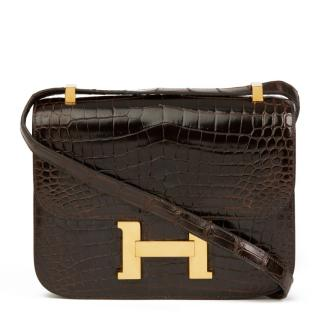 Hermes Marron Fonce Shiny Caiman Crocodile Vintage Constance 24