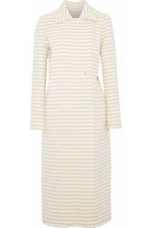 Max Mara Striped Wool & Angora Double Breasted Coat