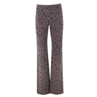 Rebecca Taylor abstract-print silk-crepe flared trousers