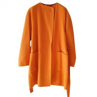 Max Mara Orange Wool Cocoon Coat
