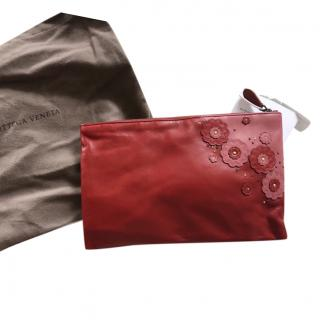 Bottega Veneta red leather clutch bag