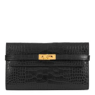 Hermes Black Matte Alligator Leather Kelly Long Wallet