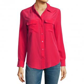 Equipment Signature pink silk crepe de Chine shirt