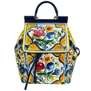 Dolce & Gabbana Sicily Maiolica Print Backpack