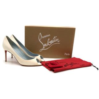 Christian Louboutin Sexy 85mm Peep-Toe White Satin Pumps