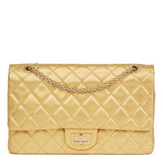 Chanel Gold Aged Metallic Calfskin 2.55 Reissue 227 Double Flap Bag