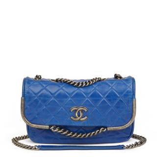 Chanel Electric Blue Quilted Aged Calfskin Leather Single Flap Bag