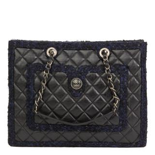 Chanel Black Aged Quilted Calfskin & Navy Tweed Grand Shopping Tote