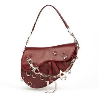 Christian Dior Burgundy Smooth Calfskin Hardcore Piercing Saddle Bag