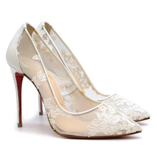 Christian Louboutin Follies Lace 100mm White Pumps