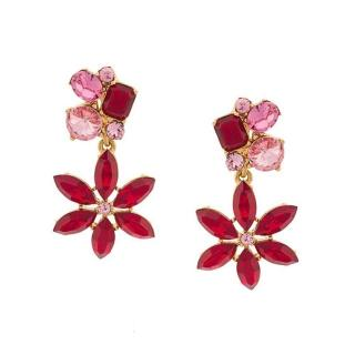 Oscar de la Renta Red Pink Crystal Flower Clip On Earrings