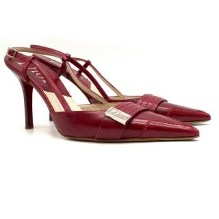 Dior point-toe red leather sandals
