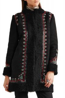 Vilshenko Black Agnes Leather-trimmed Embroidered Shearling Coat