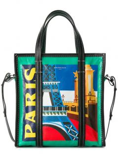 Balenciaga Bazar Paris Printed Shopper Tote