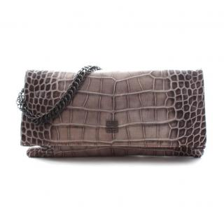 Givenchy Croc-Embossed Leather Chain Clutch Bag