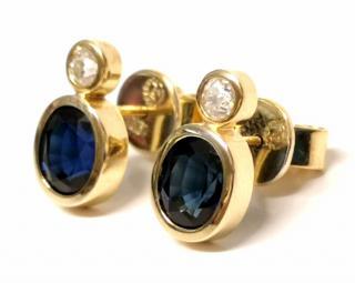 Bespoke Sapphire & Diamond Earrings 18ct Gold