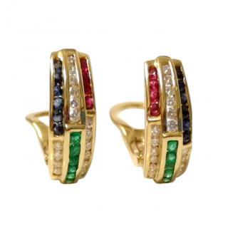 Bespoke Diamond, Emerald & Ruby Hoop Earrings 18ct Gold