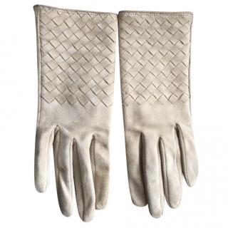 Bottega Veneta Intrecciato Soft Suede Gloves