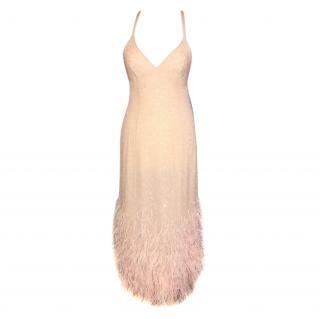 Ralph Lauren Collection Silk Sequin & Feather Embellished Dress