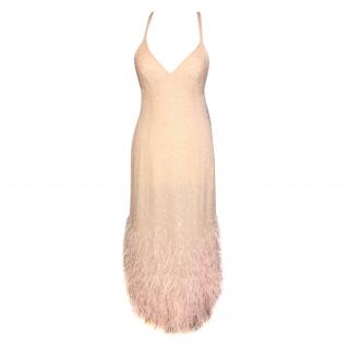 Ralph Lauren Collection Silk Sequin & Feather Embellished Dress