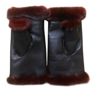 Bespoke mink fur & leather mittens