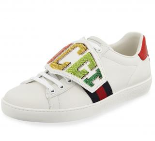 Gucci Ace Rainbow Gucci Patch Leather Sneakers