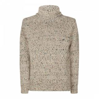 Nicole Farhi Wool Blend Funnel Neck Puzzle Fleck Jumper