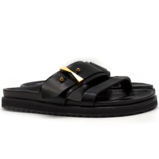 Alexander McQueen black leather slides