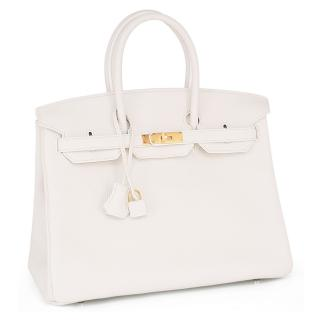 Hermes Snow White Coveted Clemence Leather 30cm Birkin Bag