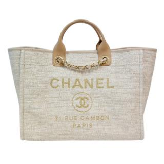 Chanel Cream Medium Deauville Tote