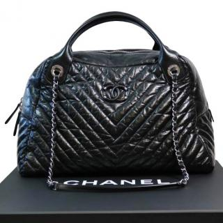 Chanel chevron bowler bag