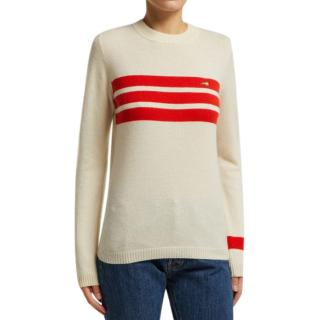 Bella Freud Embroidered Dog And Stripe Cashmere Sweater