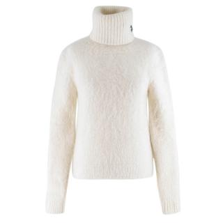Saint Laurent cream roll-neck textured sweater