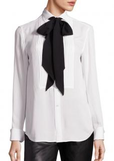 Polo Ralph Lauren Silk Tie-Neck Tuxedo Shirt