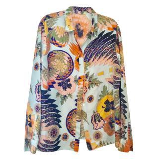 MSGM brightly printed silk blouse,