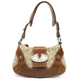 Valentino leather-trimmed lace shoulder bag