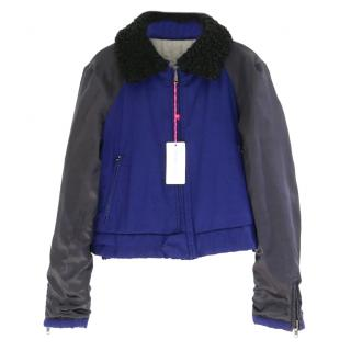 See By Chloe Reversible Crop Bomber Jacket W/ Removable Lamb Collar