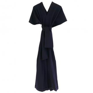 Yohji Yamamoto Vintage Navy Tie Bodice Cropped Wide Leg Jumpsuit