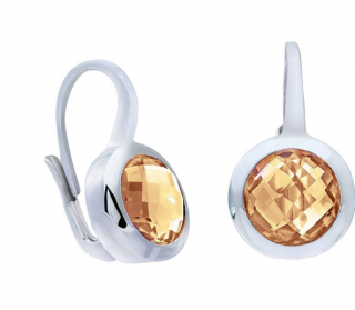 Citerna Round Citrine Drop Earrings