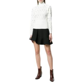 Chloe eyelet-embellished crochet-knit sweater